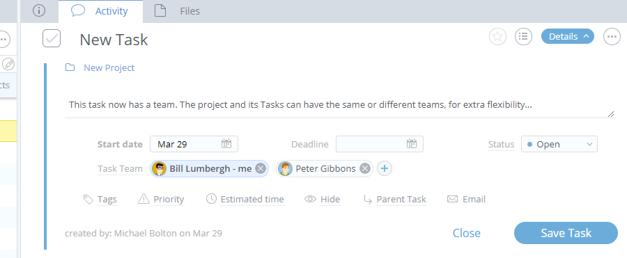 Adding Teams People to Projects and Tasks