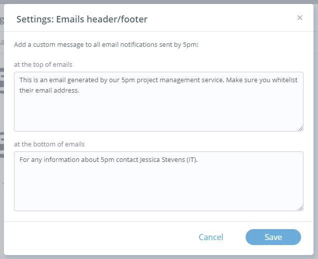 Customize Emails header
