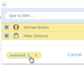 Filter selected users