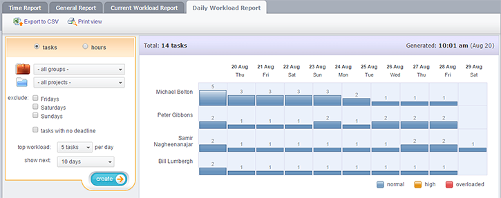 Daily Workload Report